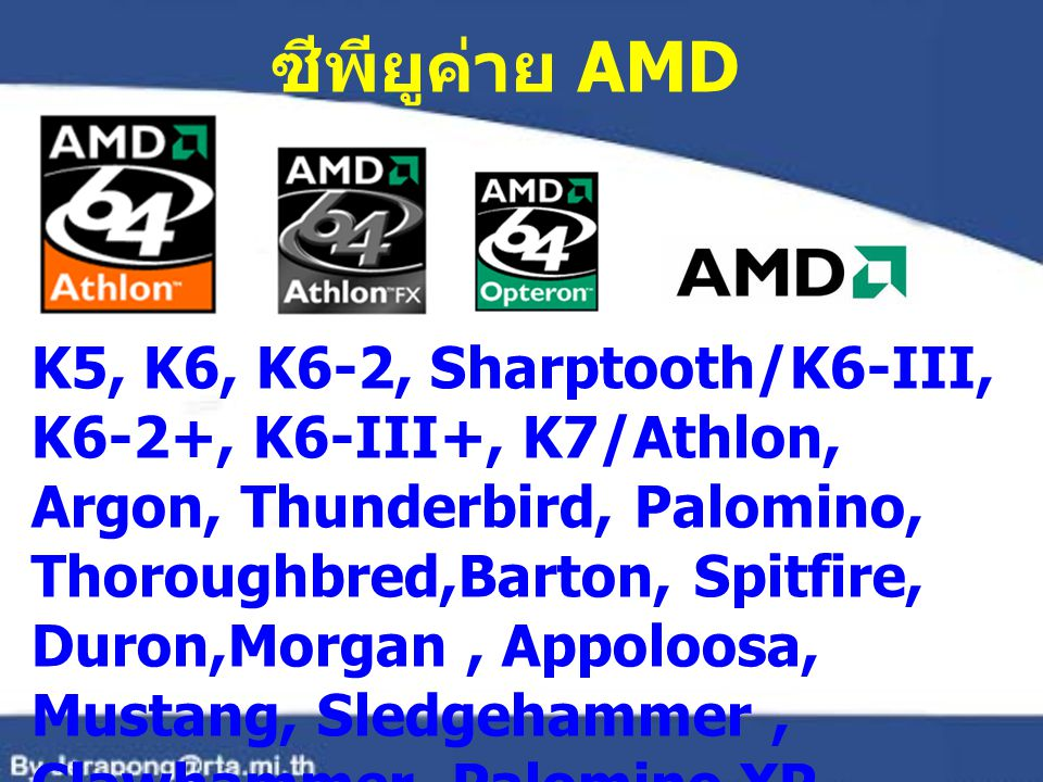 ซีพียูค่าย AMD K5, K6, K6-2, Sharptooth/K6-III, K6-2+, K6-III+, K7/Athlon,
