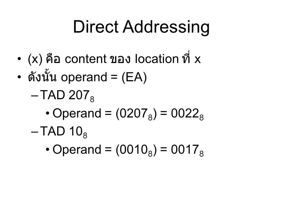 Direct Addressing (x) คือ content ของ location ที่ x