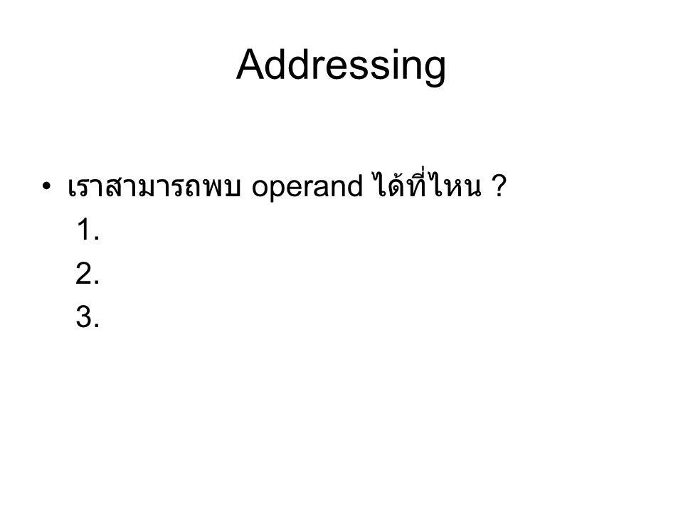 Addressing เราสามารถพบ operand ได้ที่ไหน 1. 2. 3.