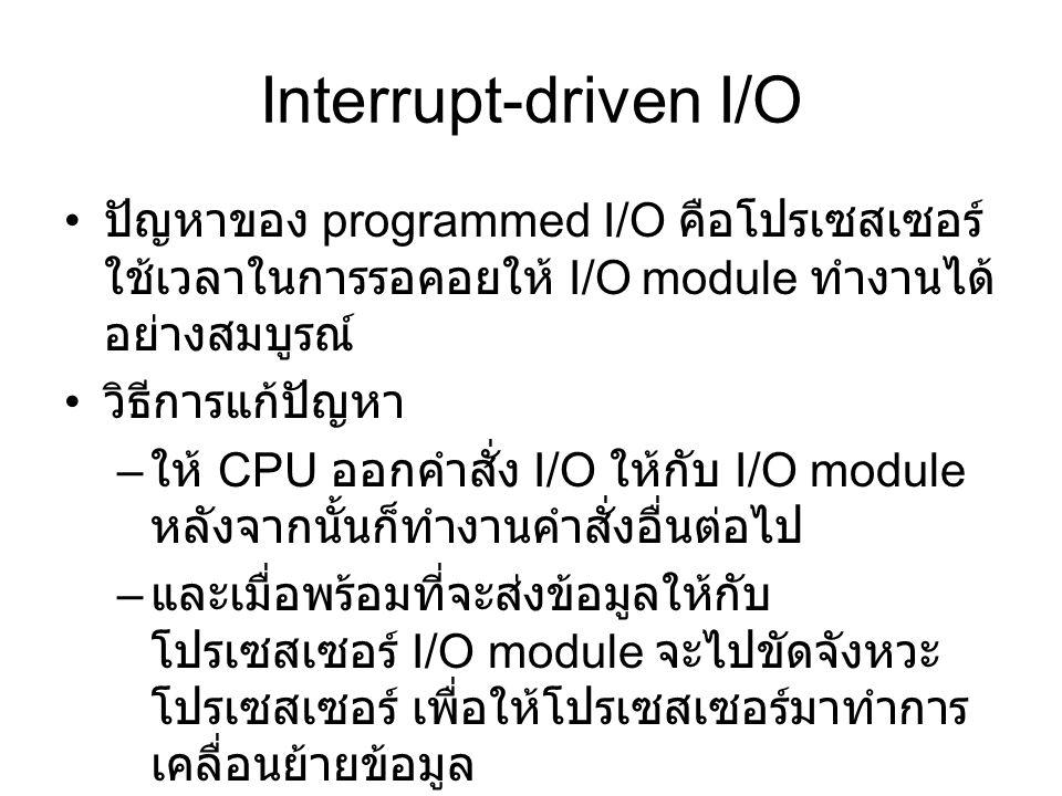 Interrupt-driven I/O ปัญหาของ programmed I/O คือโปรเซสเซอร์ใช้เวลาในการรอคอยให้ I/O module ทำงานได้อย่างสมบูรณ์