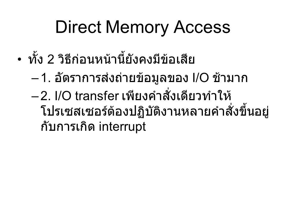 Direct Memory Access ทั้ง 2 วิธีก่อนหน้านี้ยังคงมีข้อเสีย