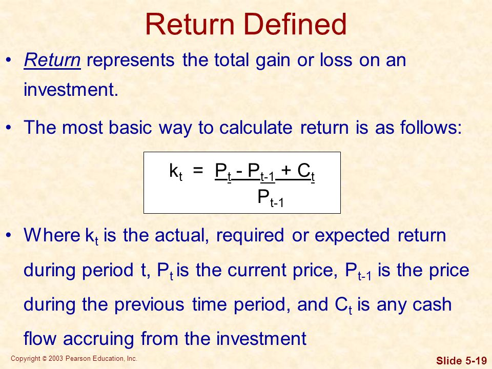 Return Defined Table 2.2 Table 2.2 Table2.2