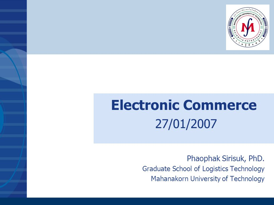 Electronic Commerce 27/01/2007