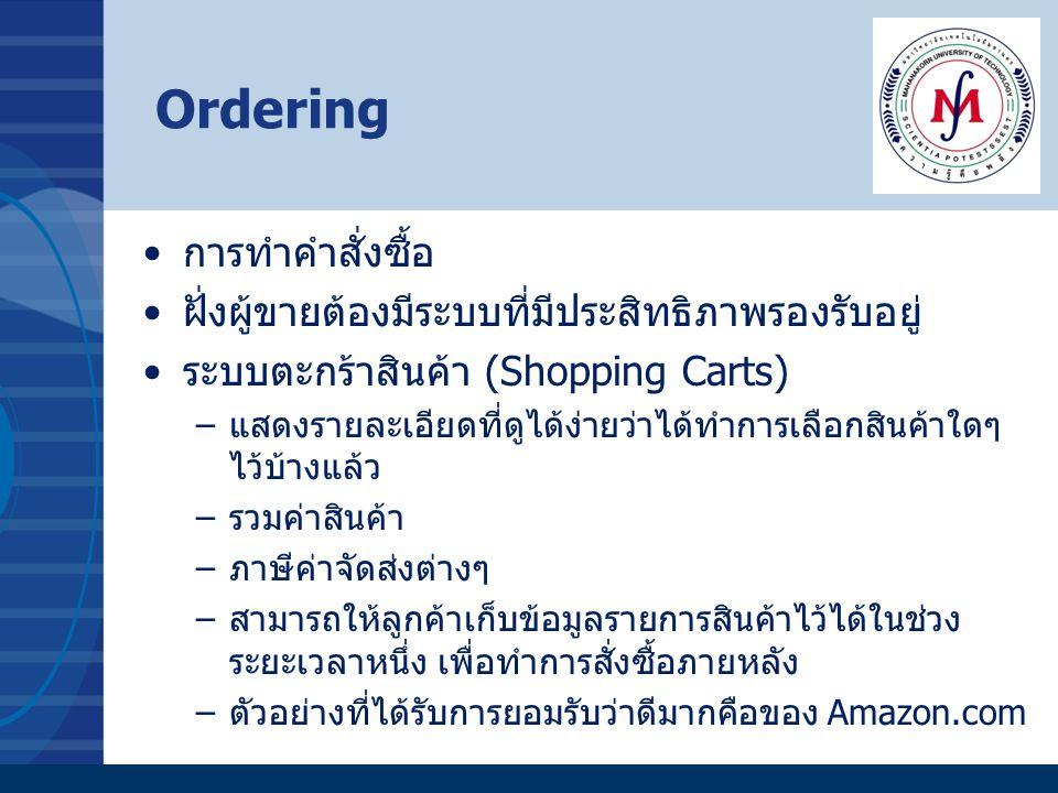 Ordering การทำคำสั่งซื้อ