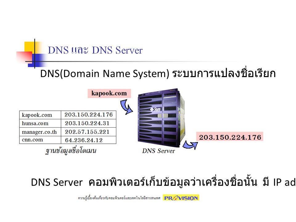 DNS(Domain Name System) ระบบการแปลงชื่อเรียก
