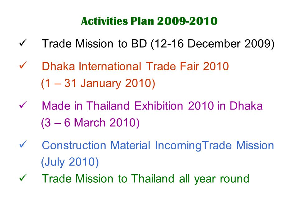 Activities Plan 2009-2010 Trade Mission to BD (12-16 December 2009) Dhaka International Trade Fair 2010.