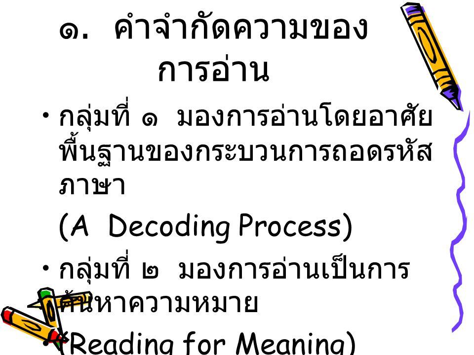 ๑. คำจำกัดความของการอ่าน