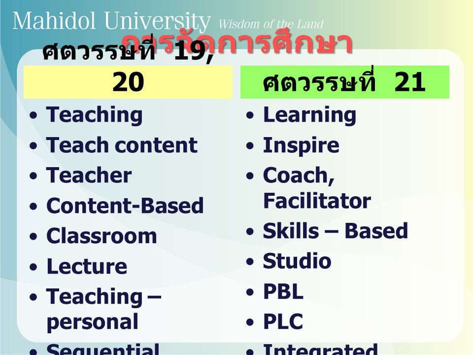 การจัดการศึกษา ศตวรรษที่ 19, 20 ศตวรรษที่ 21 Teaching Teach content