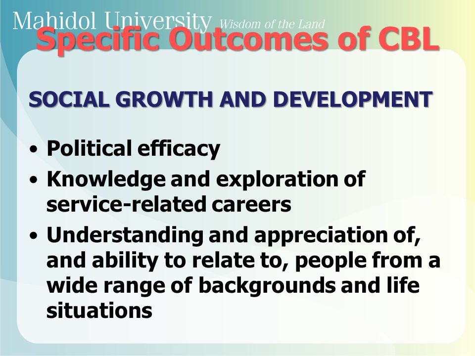 Specific Outcomes of CBL