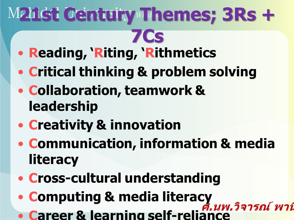 21st Century Themes; 3Rs + 7Cs