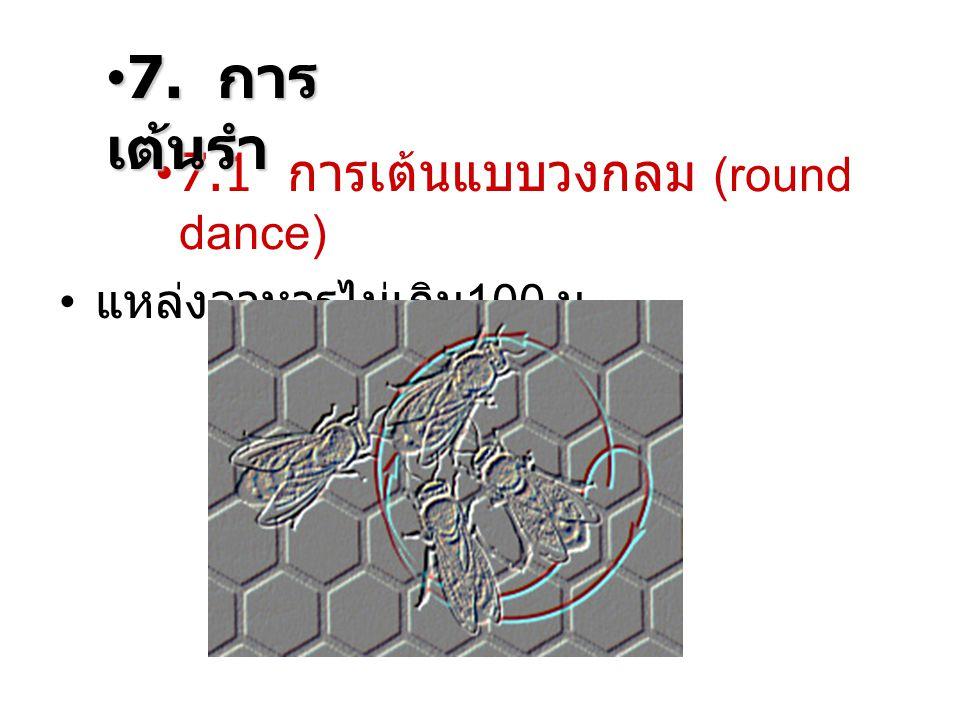 7. การเต้นรำ 7.1 การเต้นแบบวงกลม (round dance) แหล่งอาหารไม่เกิน100 ม.