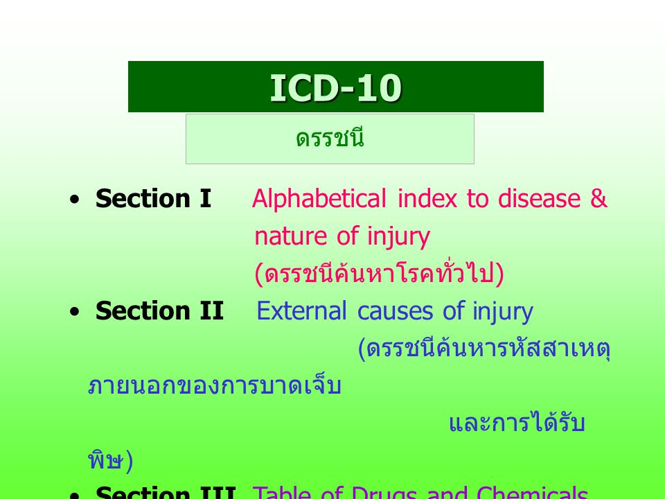 ICD-10 ดรรชนี Section I Alphabetical index to disease &