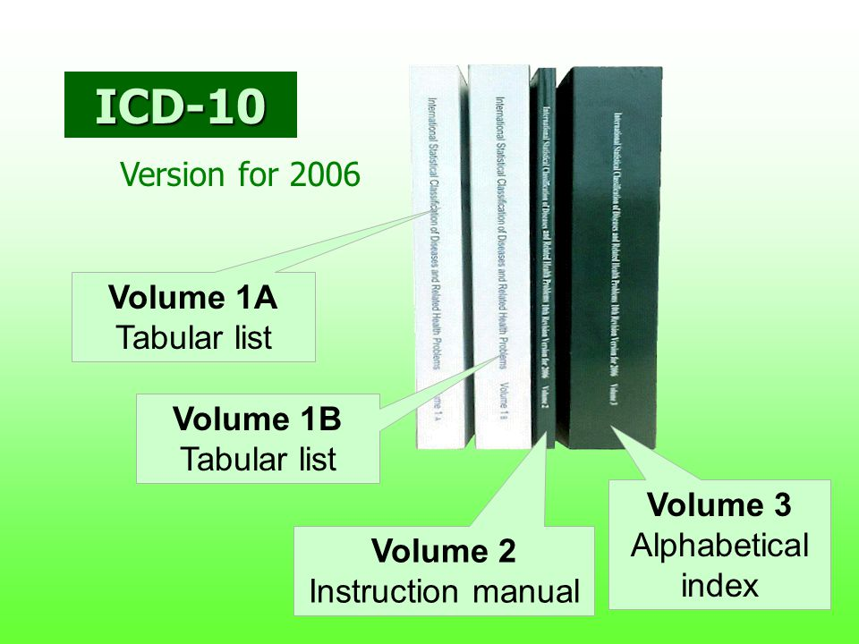 ICD-10 Version for 2006 Volume 1A Tabular list Volume 1B Tabular list