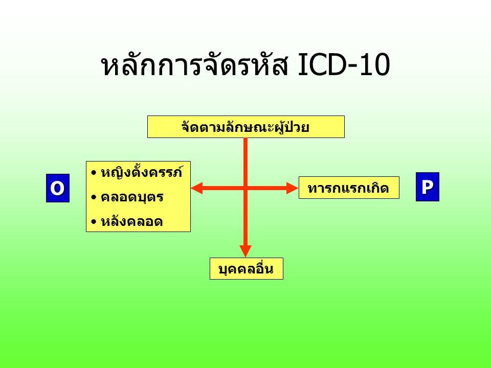 หลักการจัดรหัส ICD-10 O P จัดตามลักษณะผู้ป่วย หญิงตั้งครรภ์ คลอดบุตร