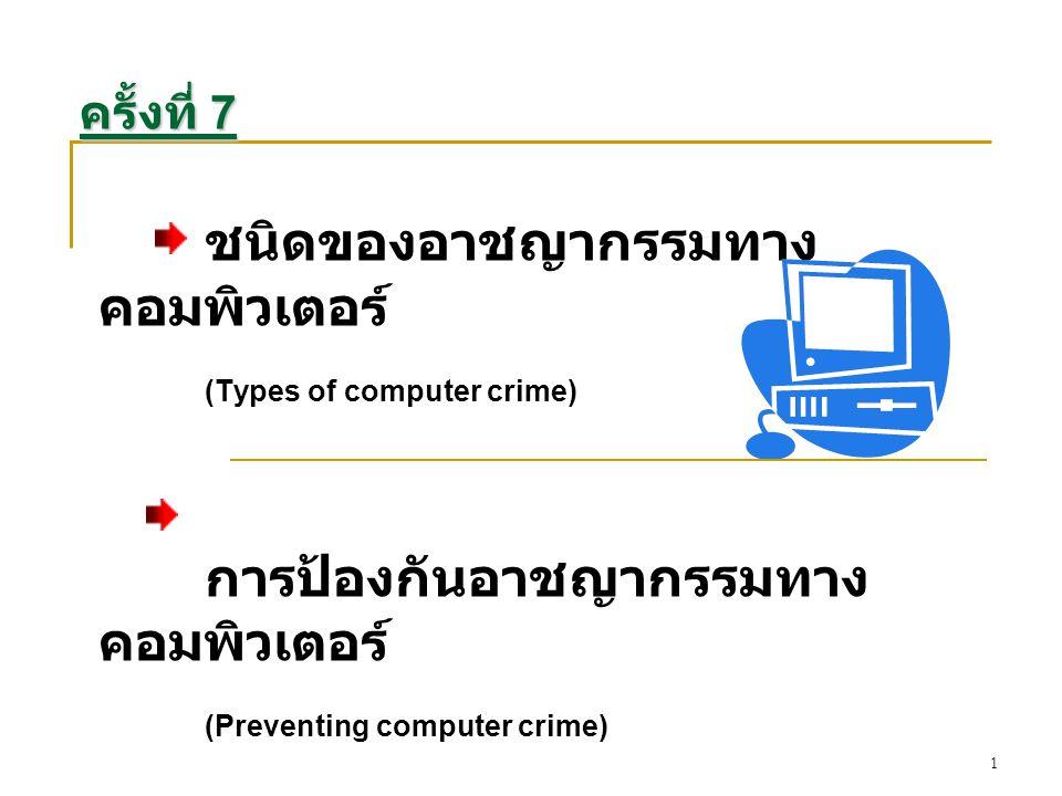 ชนิดของอาชญากรรมทางคอมพิวเตอร์