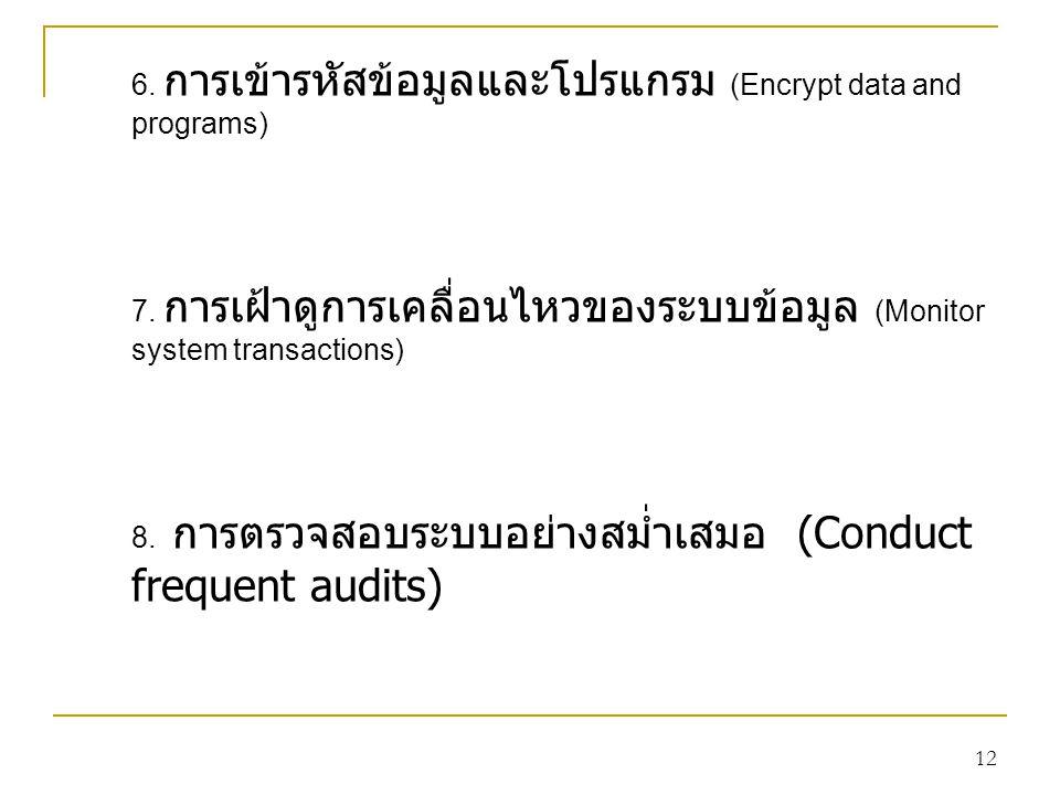 6. การเข้ารหัสข้อมูลและโปรแกรม (Encrypt data and programs)