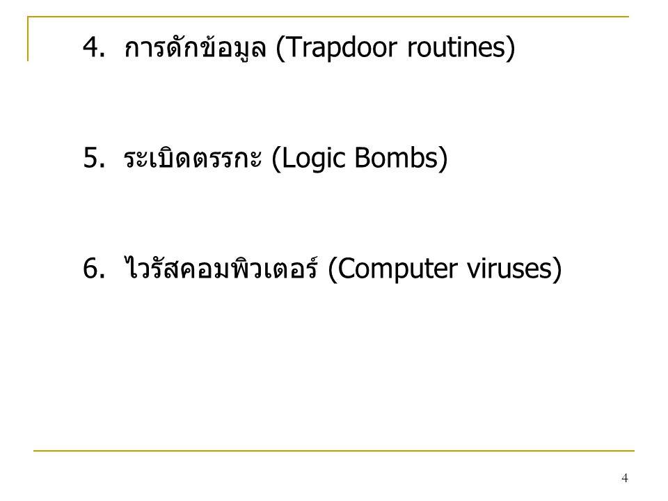 4. การดักข้อมูล (Trapdoor routines)