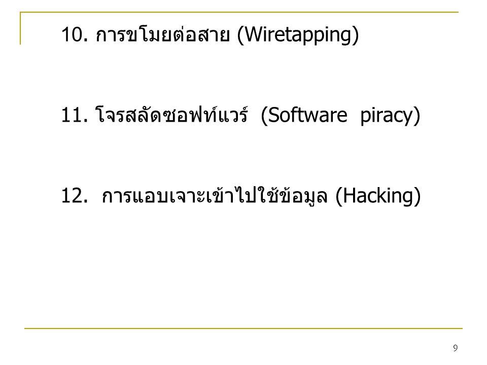 10. การขโมยต่อสาย (Wiretapping)