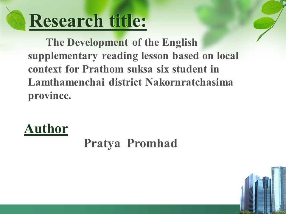 Research title: Author Pratya Promhad