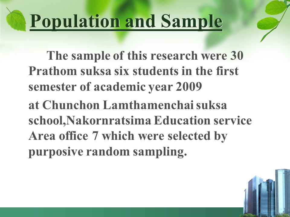 Population and Sample The sample of this research were 30 Prathom suksa six students in the first semester of academic year 2009.