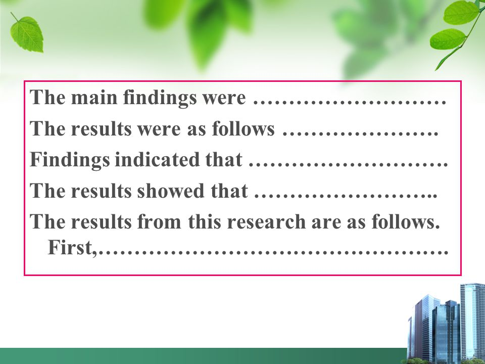 The main findings were ……………………… The results were as follows …………………