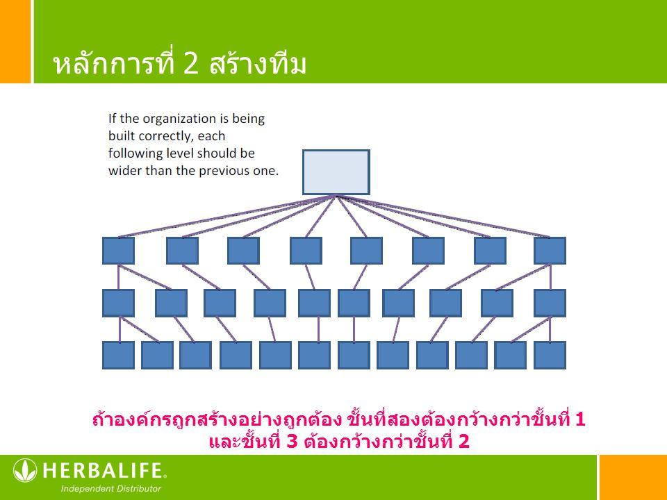 หลักการที่ 2 สร้างทีม ถ้าองค์กรถูกสร้างอย่างถูกต้อง ชั้นที่สองต้องกว้างกว่าชั้นที่ 1.
