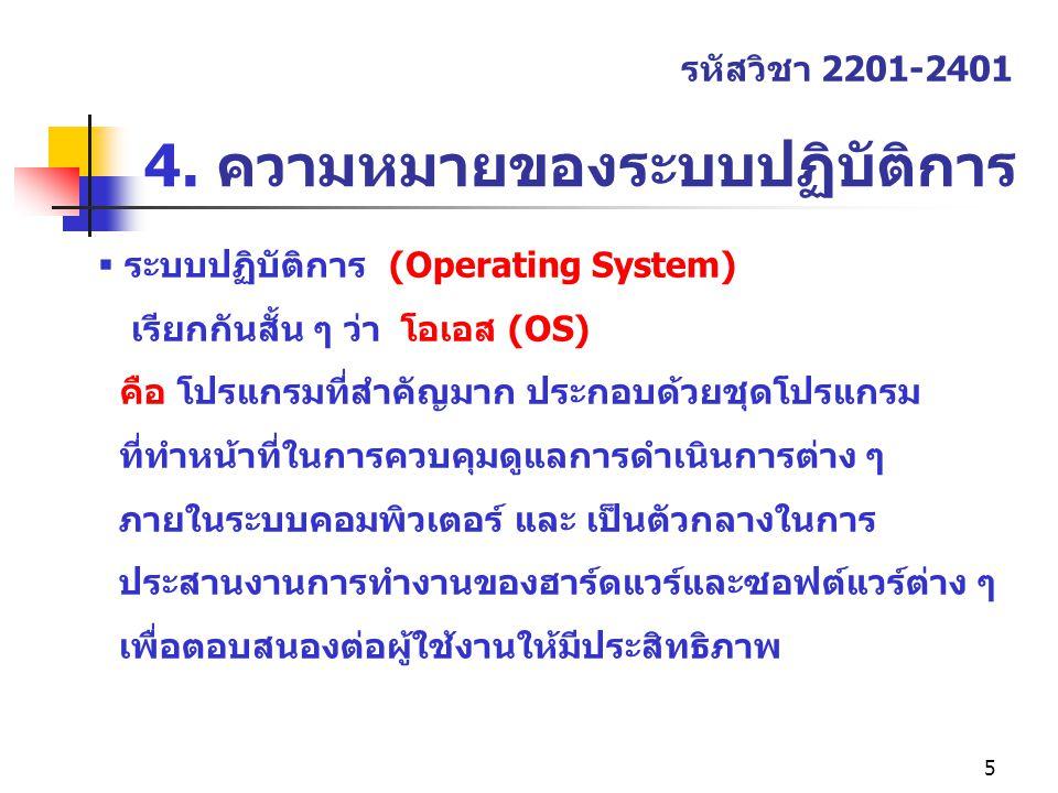 4. ความหมายของระบบปฏิบัติการ