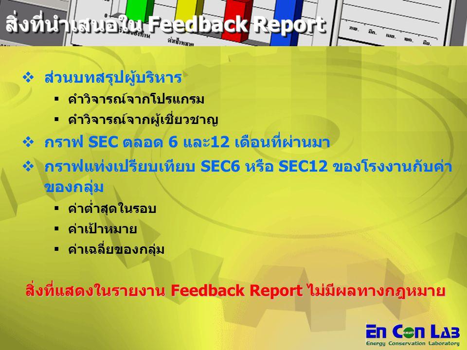 สิ่งที่นำเสนอใน Feedback Report
