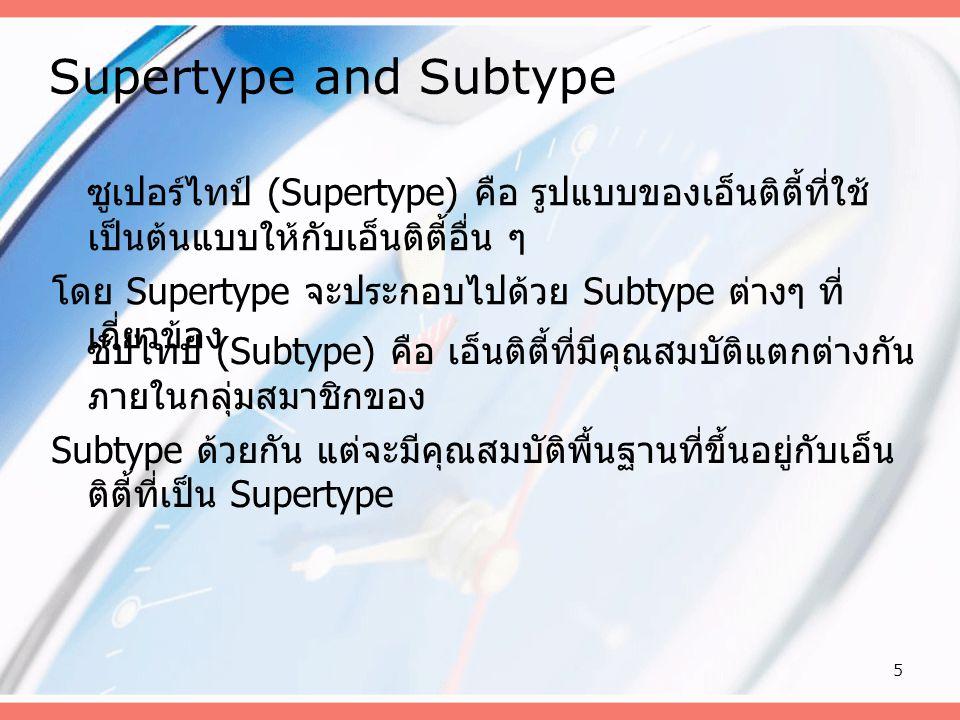 Supertype and Subtype ซูเปอร์ไทป์ (Supertype) คือ รูปแบบของเอ็นติตี้ที่ใช้เป็นต้นแบบให้กับเอ็นติตี้อื่น ๆ.