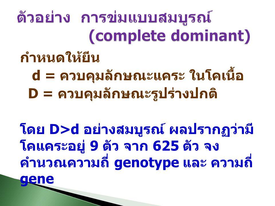 ตัวอย่าง การข่มแบบสมบูรณ์ (complete dominant)