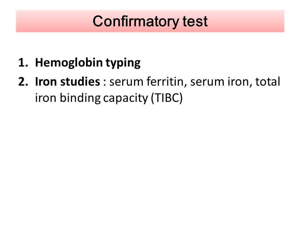 Confirmatory test Hemoglobin typing