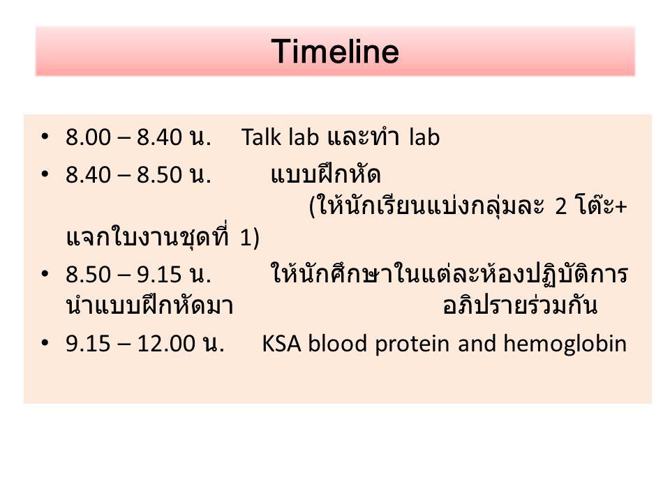 Timeline 8.00 – 8.40 น. Talk lab และทำ lab