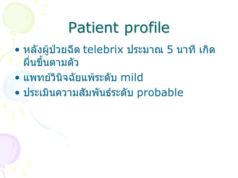 Patient profile หลังผู้ป่วยฉีด telebrix ประมาณ 5 นาที เกิดผื่นขึ้นตามตัว. แพทย์วินิจฉัยแพ้ระดับ mild.