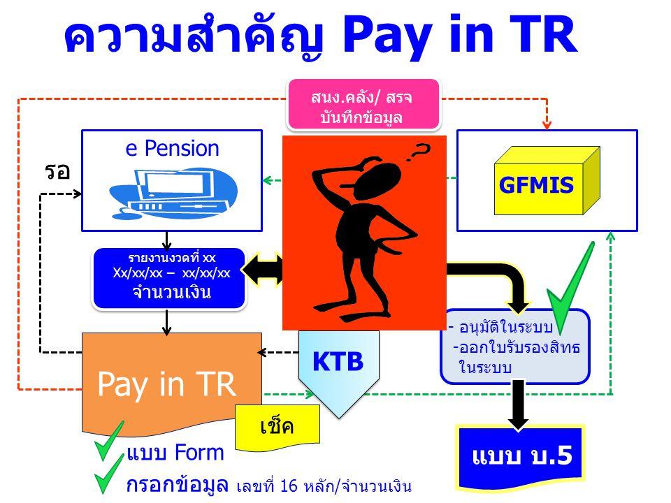 ความสำคัญ Pay in TR Pay in TR รอ KTB แบบ บ.5 e Pension GFMIS