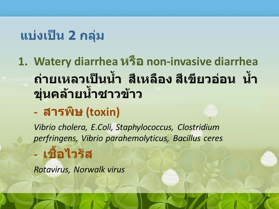 Watery diarrhea หรือ non-invasive diarrhea