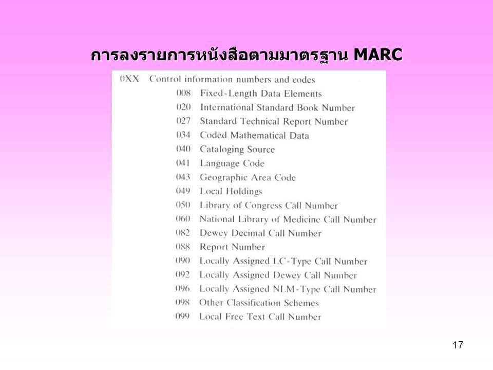 การลงรายการหนังสือตามมาตรฐาน MARC