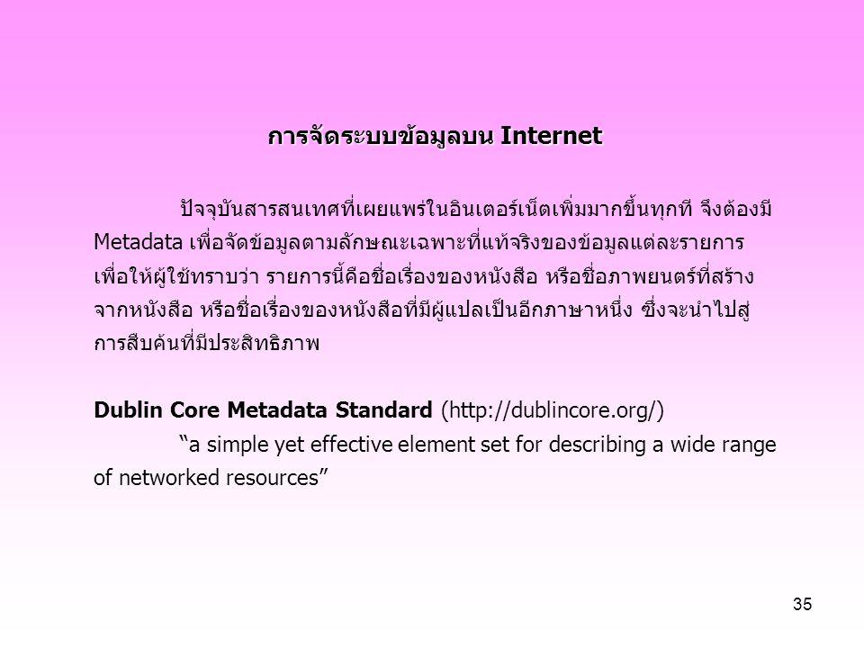 การจัดระบบข้อมูลบน Internet