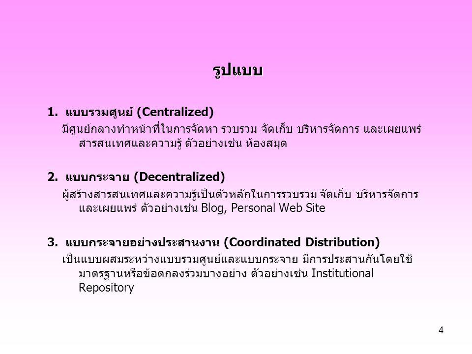 รูปแบบ 1. แบบรวมศูนย์ (Centralized)