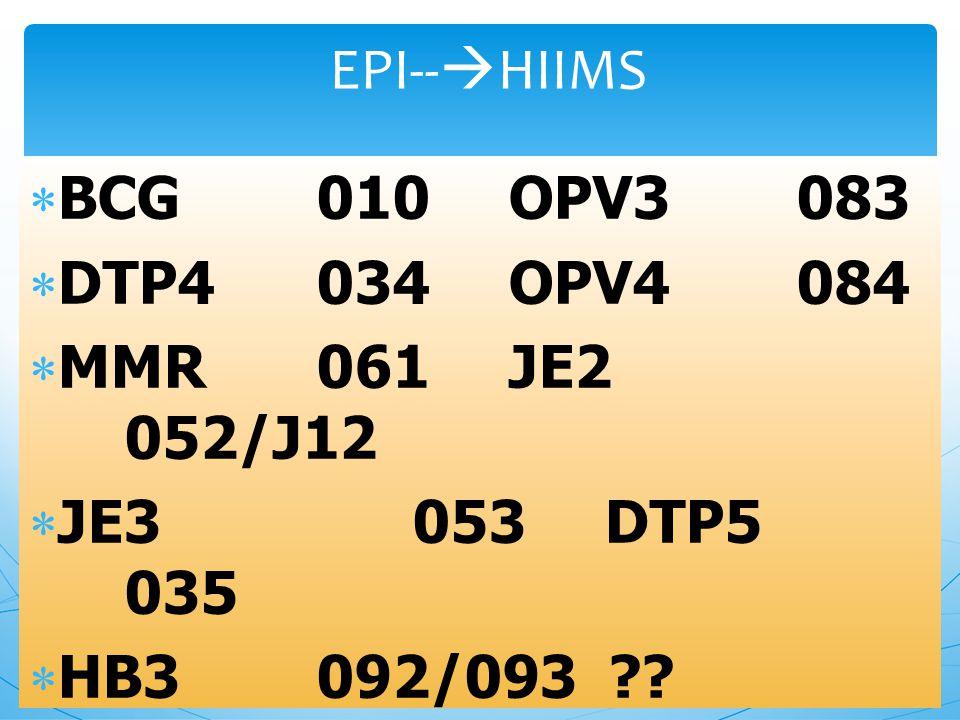 EPI--HIIMS BCG 010 OPV3 083. DTP4 034 OPV4 084. MMR 061 JE2 052/J12. JE3 053 DTP5 035.