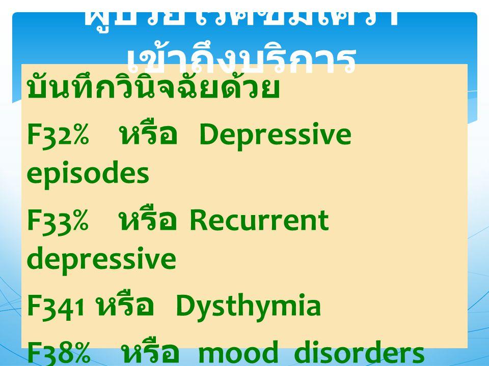 ผู้ป่วยโรคซึมเศร้าเข้าถึงบริการ