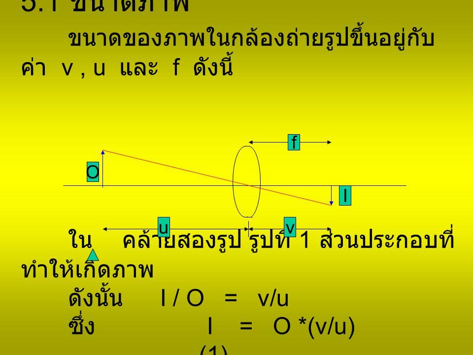 5.1 ขนาดภาพ ขนาดของภาพในกล้องถ่ายรูปขึ้นอยู่กับค่า v , u และ f ดังนี้ ใน คล้ายสองรูป รูปที่ 1 ส่วนประกอบที่ทำให้เกิดภาพ ดังนั้น I / O = v/u ซึ่ง I = O *(v/u) ……………..(1)