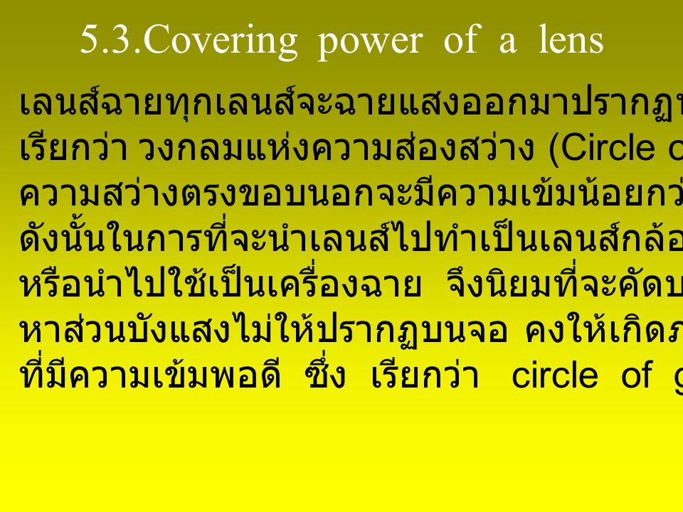 5.3.Covering power of a lens