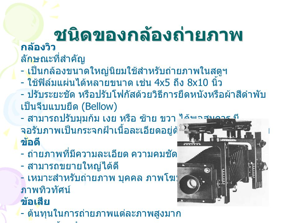 ชนิดของกล้องถ่ายภาพ