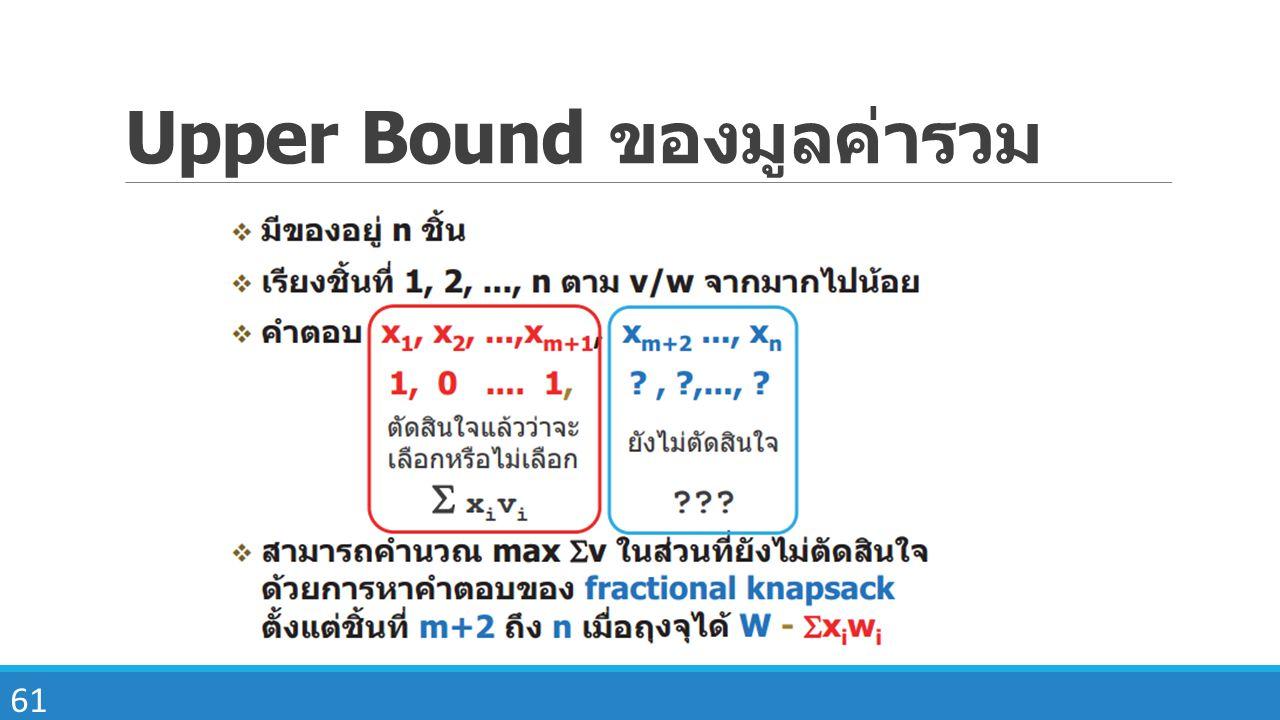Upper Bound ของมูลค่ารวม