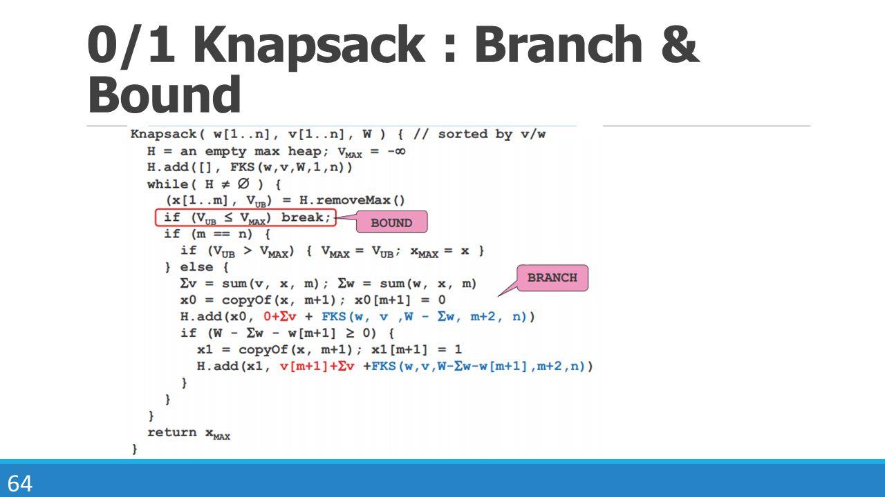 0/1 Knapsack : Branch & Bound