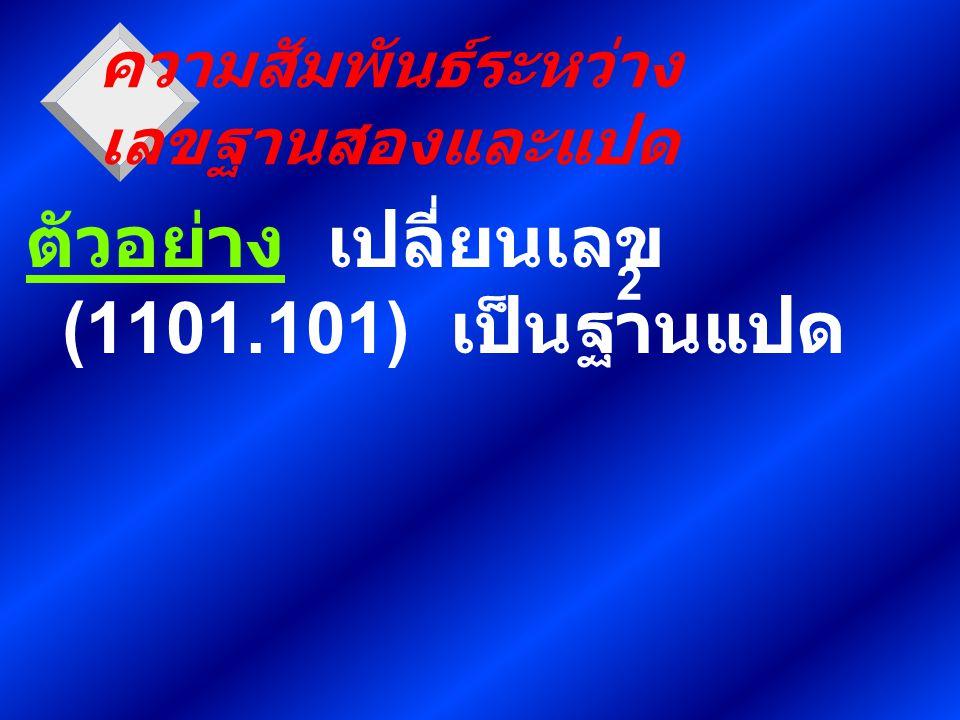 ตัวอย่าง เปลี่ยนเลข (1101.101) เป็นฐานแปด