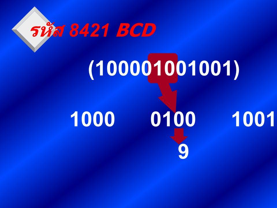 รหัส 8421 BCD (100001001001) 1000 0100 1001 9