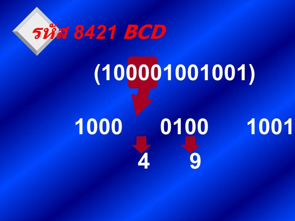 รหัส 8421 BCD (100001001001) 1000 0100 1001 4 9