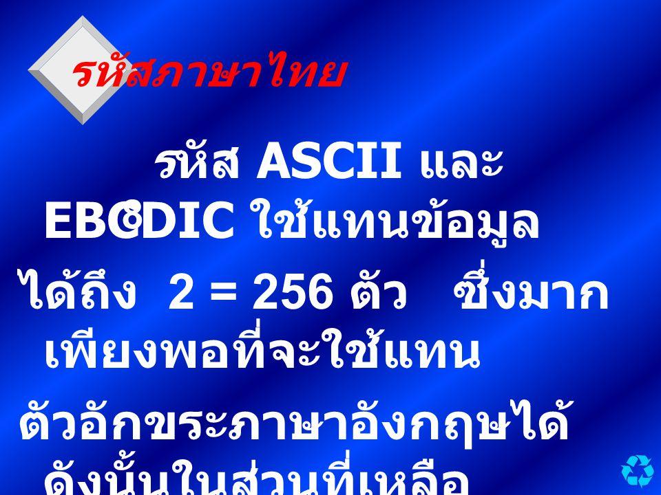 รหัส ASCII และ EBCDIC ใช้แทนข้อมูล