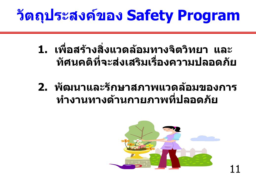 วัตถุประสงค์ของ Safety Program